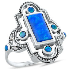 BLUE LAB FIRE OPAL ANTIQUE VICTORIAN STYLE .925 STERLING SILVER RING,       #215