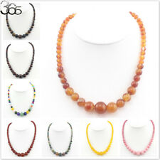 6-14mm Vintage Elegant Jewelry Natural Gemstone Graduated Beaded Necklace 18""