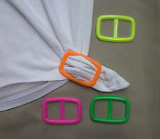 Tee shirt clip pull holder oblong buckle shape solid colors pink green orange