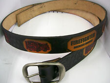 Belt All Leather Cowhide Black Embossed Painted Firefighter Design Made in USA