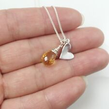 Sterling Silver and Gemstone Necklace ,Yellow Citrine Teardrop with Heart Neckla