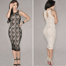 Elegant Womens Sexy Lace Sleeveless Bodycon Slim Evening Party Cocktail Dresses