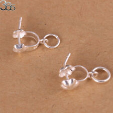 2pcs S925 Sterling Silver Pinch Bail Stone Pendant DIY Findings Connector 14mm