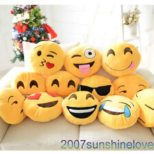 Soft Emoji Round Cushion Pillow Emoticon Home Car Decor Stuffed Plush Toy Doll