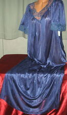 Navy Blue Long Nightgown 1X 2X 3X Hi Back Lace Womens Plus Size Gowns