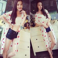 Sexy Lady Women Chiffon Blouse Red Lip Kiss Print Short Sleeve Tops Button Shirt