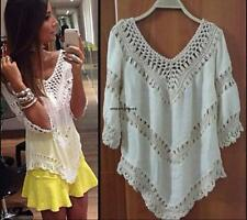 BOHO LACE CROCHET KIMONO BOHEMIAN HIPPY CASUAL BEACH COVERUP TASSEL Mesh dress