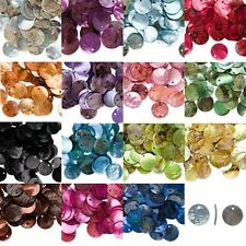 50Pcs Iridescent Mussel Shell Flat Round Coin Drop Charm Thin Disc Beads 10Color