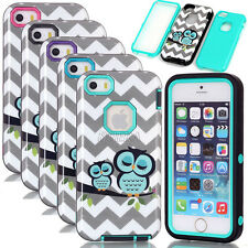 Glossy Owl Wave Pattern Heavy Duty Rugged Combo Case For iPhone 5S SE 6 6S Plus