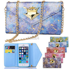 Bling Glitter Leather Lady Handbag Wallet Case + Metal Chain For iPhone Samsung