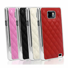 DELUXE LUXURY LEATHER CHROME CASE COVER FOR SAMSUNG GALAXY S2 I9100