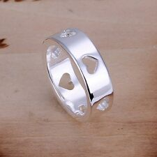 HOT Women Ring Fashion Jewelry Heart 925 Sterling Silver Plated Size 7 8