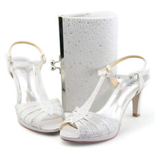 womens strappy high heels sandals white bridal dress wedding shoes wide fit bags