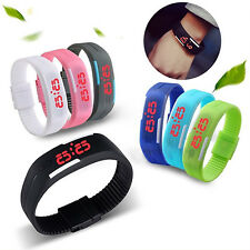 Men Womens New Stylish Silicone Red LED Sport Bracelet Touch Digital Wrist Watch