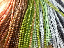 1 strand 4mm Round Faceted Cat's Eye Fiber Optic Glass Beads *You Pick Color*