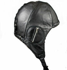 Unisex Aviator BLACK Genuine Leather Motorcycle Cap Vintage WWII Pilot Hat