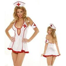 Sexy White Naughty Nurse Costume Lingerie Ladies Fancy Dress Party Outfit Sz 10