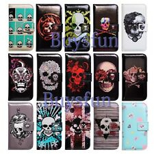 Bcov Skull Flower Butterfly Leather Wallet Cover Case For Samsung Galaxy