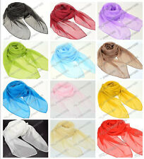 Stylish Lady Women Soft Solid 100% Silk Feel Neck Scarf Wrap Shawl Stole New