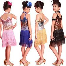 Kids Girls Latin Salsa Tango Ballroom Dance Dress Fringe Cocktail Tassel Skirt