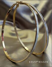 "LARGE 3"" ACRYLIC WHITE BLACK THIN HOOP STATEMENT GOLD EARRINGS NEW"