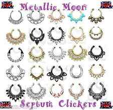 Fake Nose Septum Hangers Crystal Nose Rings Studs Septum Opalescent Clickers NEW