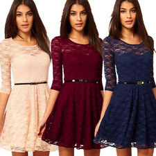 New Style Women Dresses Elegant Lace Dress Plus Size Casual Mini Dress With Belt