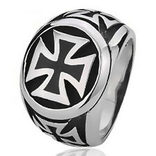 Mens Fashion Silver Black IRON Cross 316L Stainless Steel Biker Ring SZ 8 to 15
