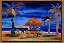 Sunset Tiki Beach Bar Floormat  20 ounce loop style from Original Art