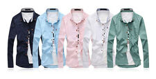 Fashion Mens Stylish Casual Dress Long Sleeve Slim Fit Men Pure color T-Shirts K