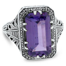 8 Ct COLOR CHANGING LAB ALEXANDRITE ANTIQUE DESIGN 925 STERLING SILVER RING, #71