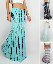 USA TIE DYE Sexy Mermaid Flare Long Boho Gypsy Beach Maxi Skirt ALL COLORS SML