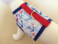 Nautical Red, White And Blue Anchor Dog Harness Vest Clothes Apparel