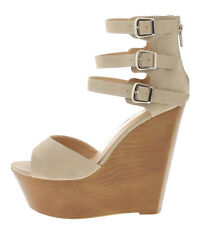 Shelby Black Nude Peach Open toe Strappy Buckle Wedge Heels Womens' shoes