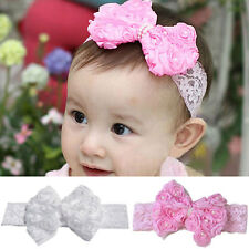 Kids Baby Toddler Infant Rose Bow Lace Peal Headband Hair Bow Band Accessories