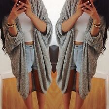 New Ladies Women Long Sleeve Knit Open Front Cardigan Top Jacket Jumper Coat