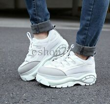 Hot Womens High Heels Platform Lace Up Stylish Sneakers Trenchy Shoes Trainers#
