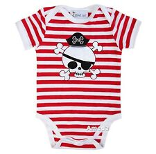 Baby Red White Stripes Pirate 4th July Boy Girl Bodysuit Romper 0-12M