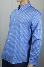 Ralph Lauren Blue White Custom Stripe Dress Shirt Pink Pony NWT