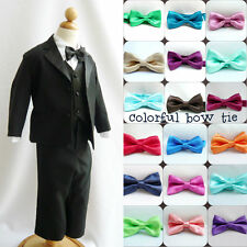 Black boy wedding formal suit brown gold white ivory bow tie 6 pc set ALL SIZES