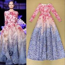 Women Summer Floral Long Sleeve Cocktail Evening Party Ball Gown Maxi Dress Y5RG
