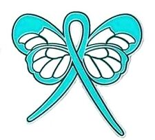 Teal Ribbon Butterfly Lapel Pin Cancer Cause Awareness Ovarian Thyroid PTSD New