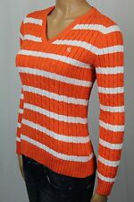 Ralph Lauren Orange Striped Cable Knit V-neck Sweater White LRL NWT