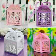 12  Heart Hollow Birds Candy Boxes Ribbon Wedding Party Favours Gift Table Decor