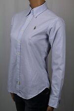 Ralph Lauren Blue Classic Fit Oxford Striped Blouse Shirt Multi Colored Pony NWT