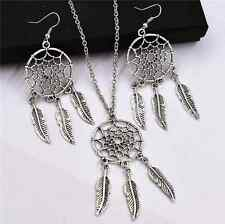 2015 New Lucky Bohemian Dreamcatcher tassel feather necklace Earring+necklace