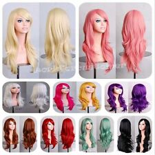 70 cm Lady Long Wig Curly Wavy Hair Synthetic Cosplay Party Aniime Full Wigs