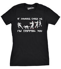 Womens Zombies Chase Us Tripping Funny Zombie T shirts Living Dead Novelty T shi