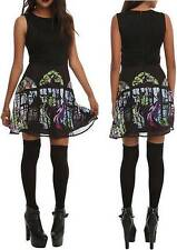 S small Disney MALEFICENT punk gothic MINI SLEEPING BEAUTY stained glass DRESS