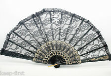 Pretty Women Style Wedding Dance Black Lace Cotton Flower Folding Hand Held Fan